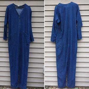 """Vintage 80s baggy denim overalls 33"""" inseam"""